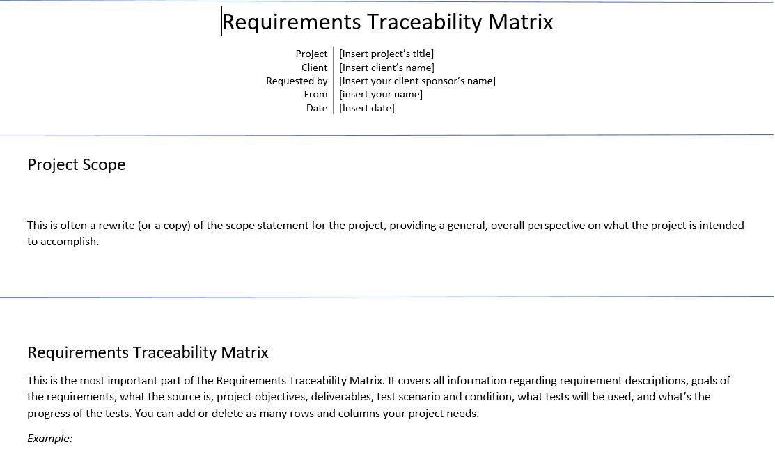Requirements Traceability Matrix Rtm Pm Tips