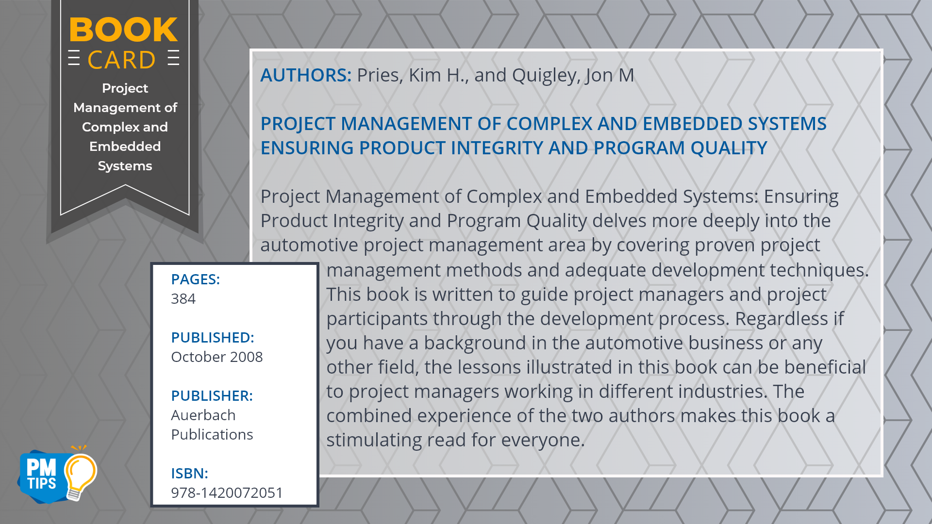 Book Card Project Management of Complex and Embedded Systems: Ensuring Product Integrity and Program Quality