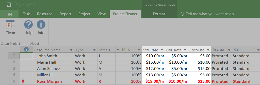 Before cleaning cost rates in mpp file
