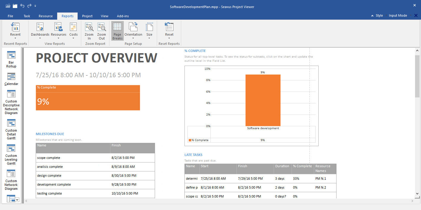 Microsoft Project viewer project overview report - Seavus Project Viewer