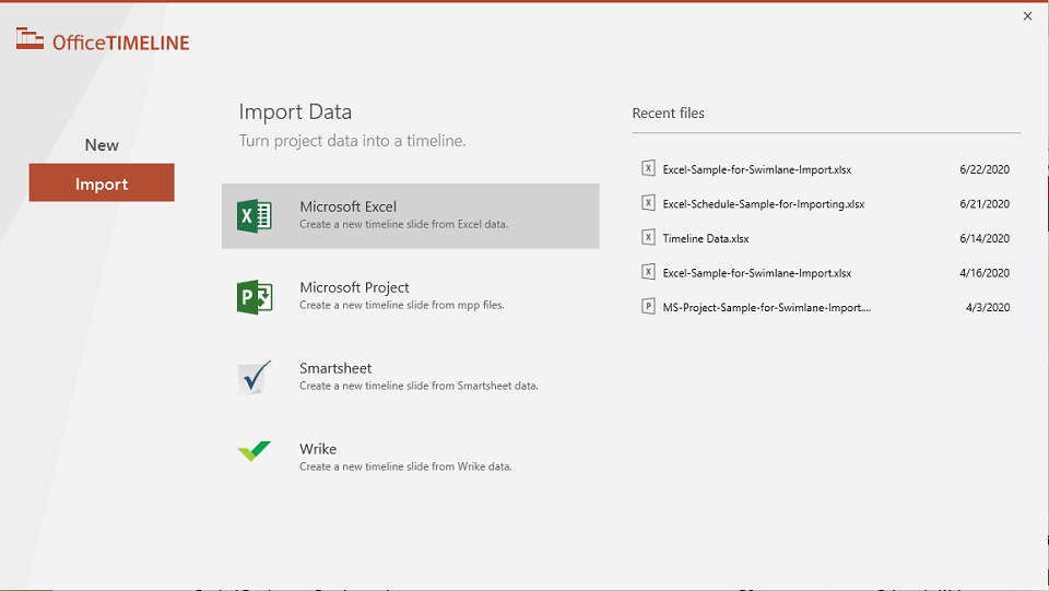 Office Timeline data import
