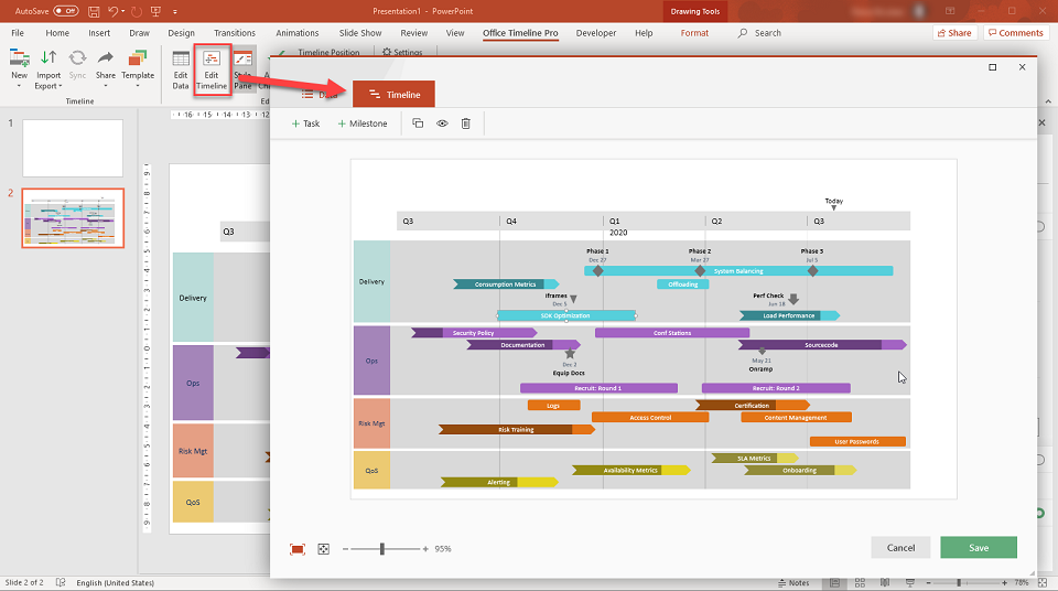 Office Timeline Drag and Drop Editor