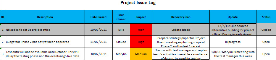 Raid logs the issues element for Project raid log template